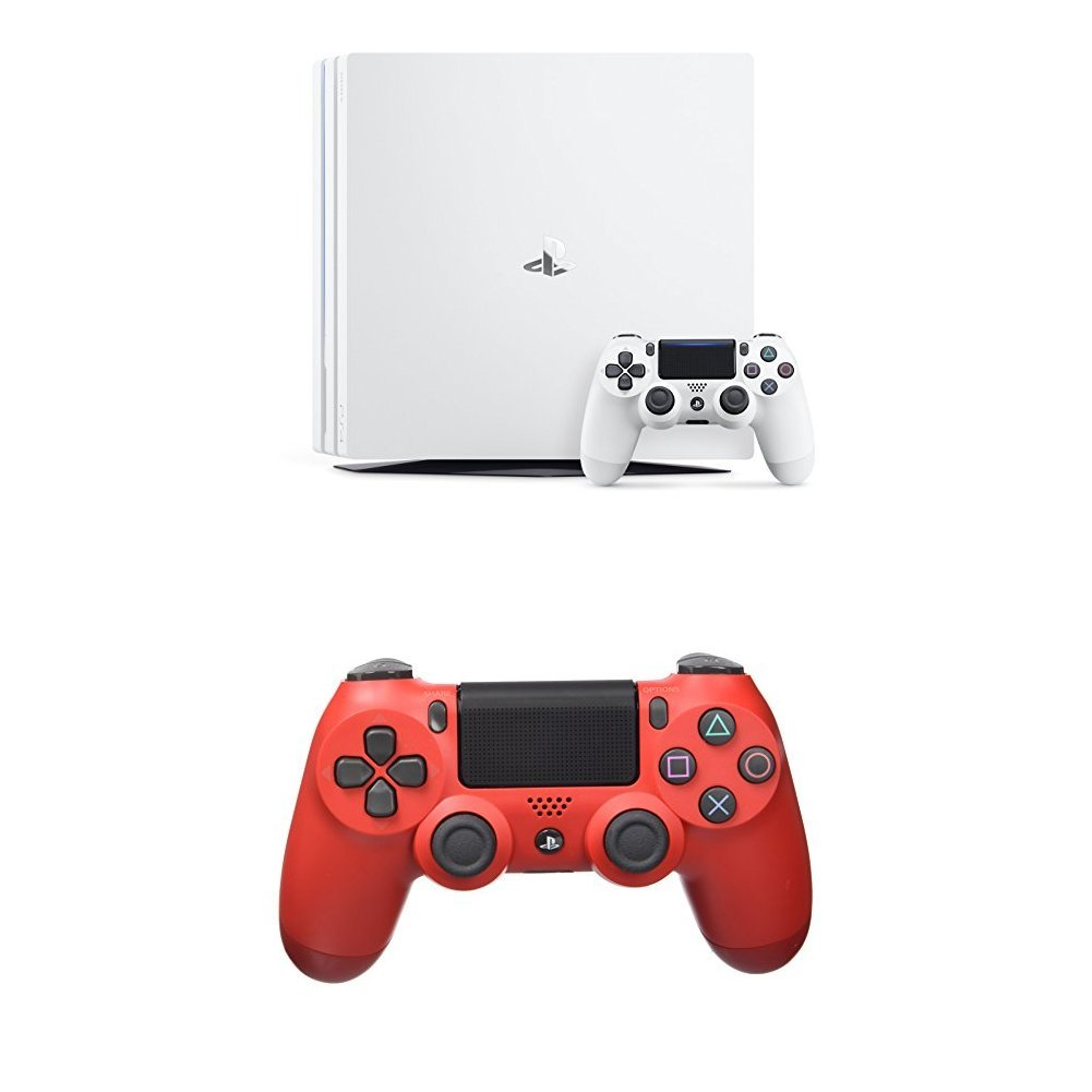 PlayStation 4 Pro (PS4) - Consola, Color Blanco + Dualshock 4 V2 Mando Inalámbrico, Color Rojo (Magma Red): Amazon.es: Videojuegos