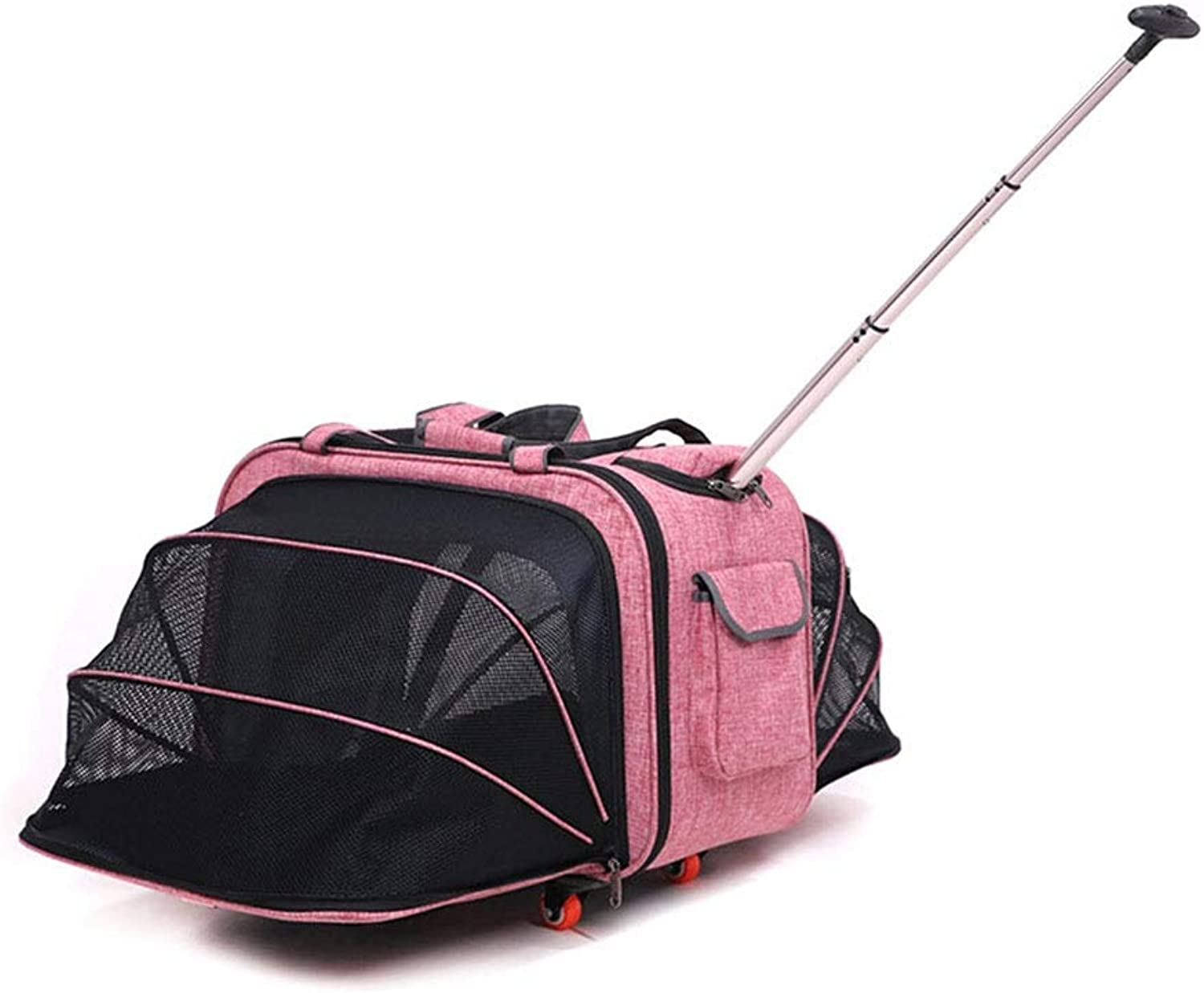 Adjusting pet wheelchair Adjustable wheelchair dog travel trolley case pet portable out cart multifunction folding box (color   Pink)