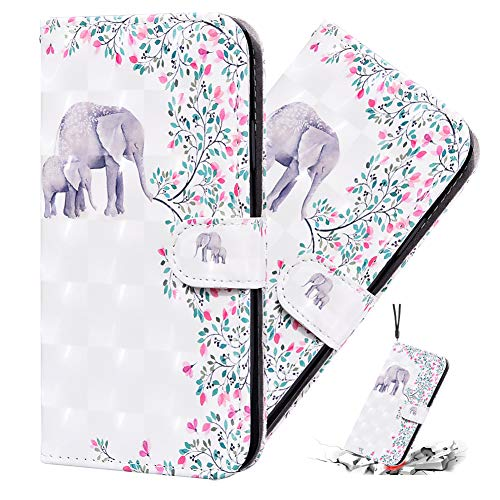 IMEIKONST 3D Funda para iPhone 8 Plus,Premium PU Cuero Bookstyle Tarjetas Billetera, Cierre Magnético Flip Stand Shockproof Funda para iPhone 8 Plus / 7 Plus Flowers Elephant CYA