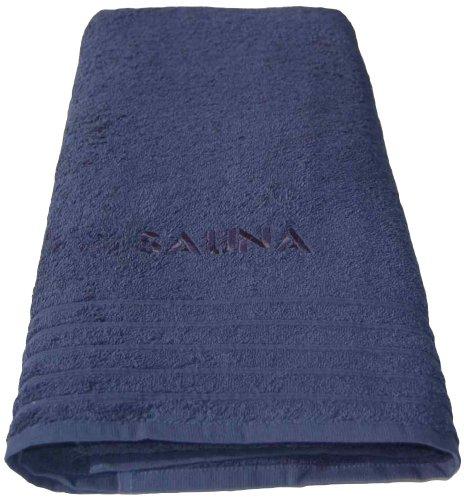 Lashuma Besticktes Wellness Handtuch Blau, Motiv: Sauna, XXL Strandhandtuch 80 x 200 cm, Saunatuch aus 100% Baumwolle