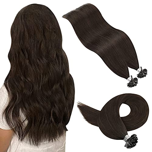 YoungSee U Tip Hair Extensions Human Hair #2 Darkest Brown Pre Bonded Keratin Hair Extensions 18inch U Tip Fusion Hair Extensions Human Hair Keratin Extensions 1g/s 50strands
