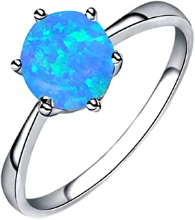 Women's Simple Jewelry Filled Wedding Engagement Six-Claw Inlay Opal Ring