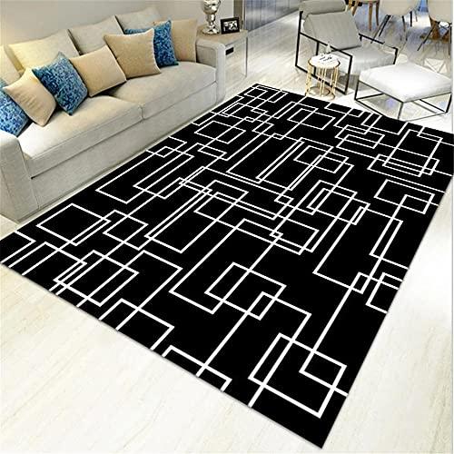 Negro Alfombra Exterior Línea blanca Impresión Geometría Alfombra Hogar Dormitorio Sala de...