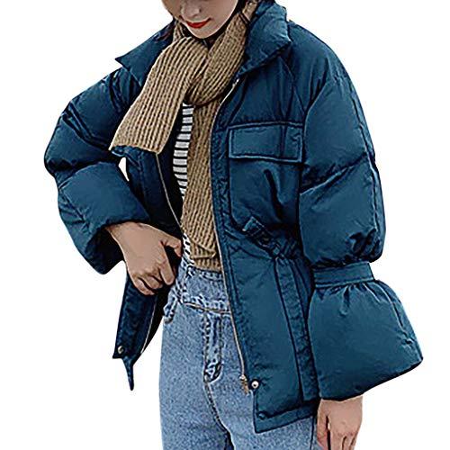 FRAUIT dames donsjas opstaande kraag kort jack Lace-up tas met lange mouwen winterjas warme mantel gewatteerde jas