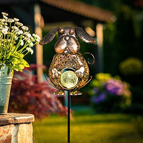 Solarlampen für Außen Garten, Solarleuchten IPX4 Wasserdicht LED Solar Gartenleuchte Warmweiß Solarlichter Terrasse Balkon Wege lampe Deko (Hund Bronze)