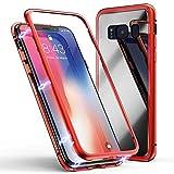 Jonwelsy Kompatibel mit Samsung Galaxy Note 8 Hülle, Stark Magnetische Adsorption Technologie Metallrahmen, Transparent Gehärtetes Glas Rückseite Handyhülle für Samsung Galaxy Note 8 (Rot)