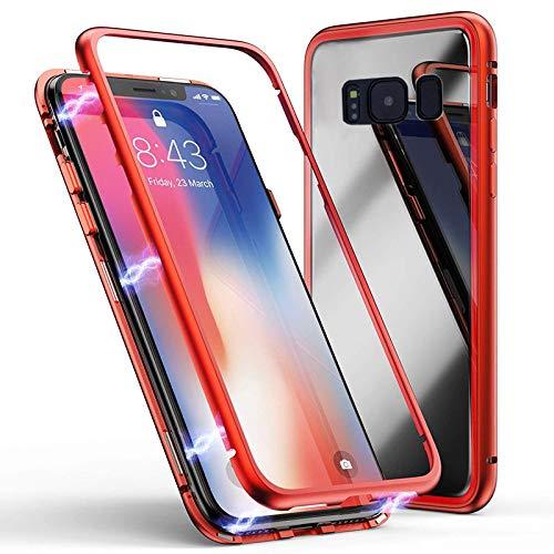 Jonwelsy Funda para Samsung Galaxy S9, Fuerte Tecnología de Adsorción Magnética, Cubierta Trasera de Vidrio Templado Ultra Delgado Metal Bumper Case Cover para Samsung Galaxy S9 (Rojo)