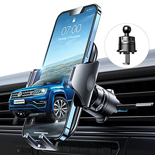 VANMASS Kfz Handyhalterung Auto Lüftung [Hält Bombenfest] mit Stabilem Lüftungshaken 360°Drehbar 100{5453edf5363f26d996e0a19c16c83694c47350d3fa713f22fe0bd80758b40895} Silikonschutz Smartphone Halterung Auto für Alle Handys & Autos iPhone 11 12 Samsung Huawei Xiaomi