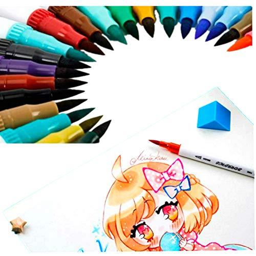 Rotuladores punta pincel acuarela con doble punta 12 color,