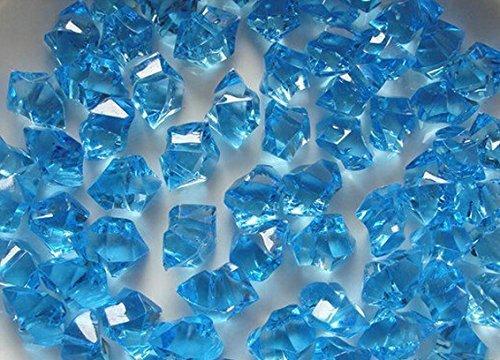 LongBang Acrylic Clear Ice Rocks Cubes 300g/bag, Vase Filler or Table Decorating Idea (Aqua Blue)