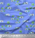Soimoi Blau Baumwoll-Voile Stoff Baum & Nashorn Tier Stoff