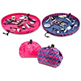 Lay-n-Go COSMO Plus (21') Set of Two Cosmetic Bags (Chevron Pink / Pink)