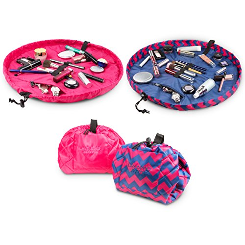 """Lay-n-Go COSMO Plus (21"""") Set of Two Cosmetic Bags (Chevron Pink/Pink)"""