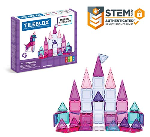 Tileblox Inspire 60 Piece Set Magnetic    Building      Blocks, Educational  Magnetic    Tiles Kit , Magnetic    Construction  STEM Toy Set