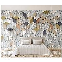 Wkxzz 壁の背景装飾画 カスタム幾何学的なダイヤモンド格子リビングルームの寝室の背景壁紙壁画-150X120Cm