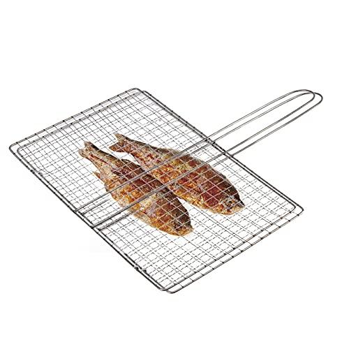 Blkthun Faltbarer BBQ Grillkorb Fischbräter, Fisch-Grillkorb, Edelstahl-Grillkorb mit tragbarem Griff, Lebensmittel-Edelstahl-Grillzubehör Grilled Fish Tongs