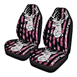FKELYI Car Seat Covers Pink Camouflage Flag Deer Hunting Seat Protector Cushion for Women Girls Seat Mat Cover Set of 2