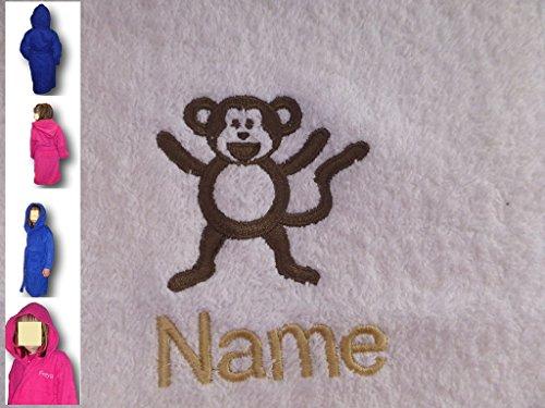 EFY Peignoir à capuche pour enfant avec logo Singe et nom de votre choix Bleu roi 2, 4, 6, 8, 10 ou 12 ans