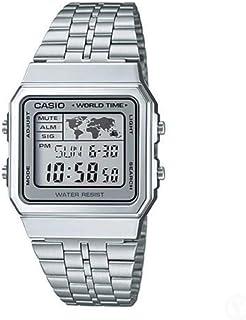 Casio A500WA-7D Vintage Unisex Wristwatch Digital Display Stainless Steel, Grey Band