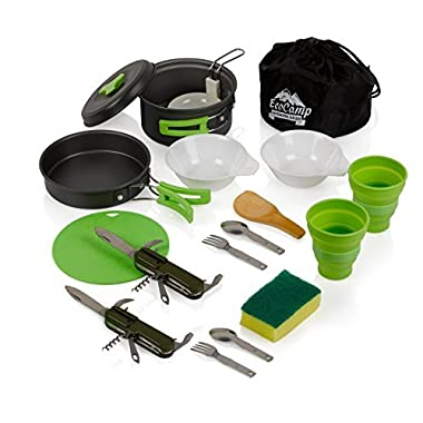 EcoCamp OUTDOOR GEAR Mess Kit (14 Pcs) for Camping w/Cookware Set Plus 2 Utensil Sets, 2 Silicone Cups, Cutting Mat & Dunk Bag Compact, Light & Durable for Military, Backpacking, Hiking|Green