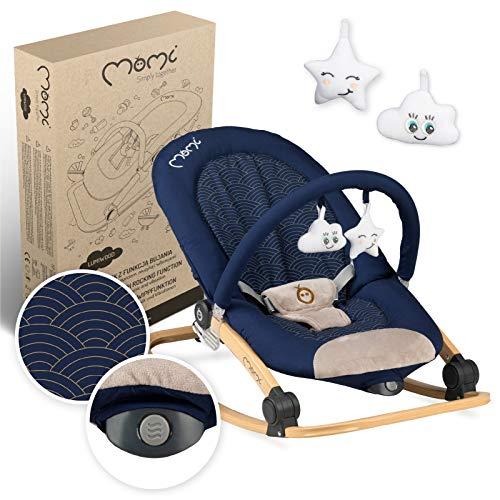 MOMI EBES Hamaca para bebés, acolchado suave, estructura de metal, pies antideslizantes, correa de sujeción  Peso 3,84 kg, 80 x 54 x 40 cm  Módulo sensorial para la manutención infantil crea