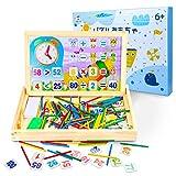 Tagitary 算数おもちゃお絵かきボード 数字スティック 木製ブロック 黒板消し チョック付き算数教具 早期教育おもちゃ 子供用知育おもちゃ 絵画 認識力 創造力 教材 室内玩具 誕生日 プレゼント 贈り物 出産祝い