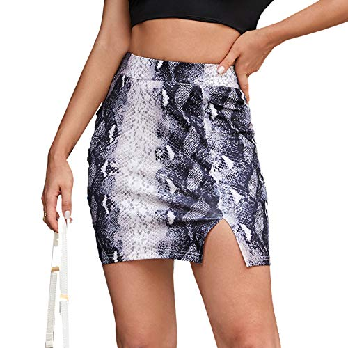 Clacce Minirock Damen Schlangenmuster Vorne Reißverschluss Mini Rock Bleistiftrock Hohe Taille Skirt Rock Damen Snake Short Skirt Rock