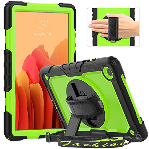 Timecity Case for Galaxy Tab A7 10.4 2020 (SM-T500/T505/T507), Full-body Shockproof Tablet Cover with Screen Protector, 360° Rotating Stand, Hand Strap and Pencil Holder for Galaxy Tab A7, Green