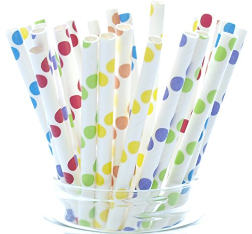 Circus Party Straws, Carnival Theme (25 Pack) - Rainbow Party Supplies, Kids Birthday Party Vintage Assorted Color Polka Dot Straws