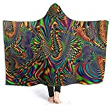 Kids Youth Wearable Blanket, Radioactive Blue Psychedelic Fractal Trippy Render Graphic Hooded Blanket, Against Shedding Fall Moving Throw Blanket for Outdoors, Better Relaxing, 80 x 60 inch