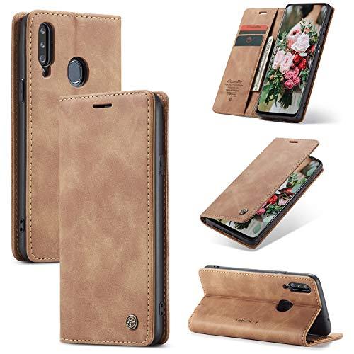 FMPC Handyhülle für Samsung Galaxy A20S Premium Lederhülle PU Flip Magnet Hülle Wallet Klapphülle Silikon Bumper Schutzhülle für Samsung Galaxy A20S Handytasche - Braun