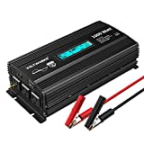 Pure Sine Wave 1000 Watt Power Inverter DC 12v to AC 110V-120V 1000W with LCD Display and 4.8A Dual USB Ports 3 AC Outlets for Home RV Truck[3 Years Warranty] by VOLTWORKS