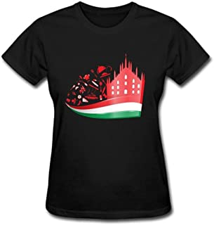 Wanenkser Milan Cathedral With Food On Italian Flag T Shirt For Women