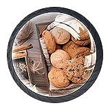 AITAI Juego de 4 pomos decorativos para puerta de avena y chocolate, elegante adición para armario, cajón, aparador, dormitorio