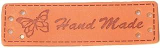Etiquetas de roupas de couro sintético com estampa de coroa/borboleta, 1,5 x 5 cm, etiquetas de roupas, 20 peças marrom pa...