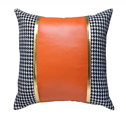Paquete de 2 costuras de cuero anaranjado Cojín de cojín (con núcleo), Cubiertas de almohadas de lanzamiento cuadrado decorativo para el hogar para sala de estar Sofá sofá cama 45 x 45 cm / 18x18 pulg