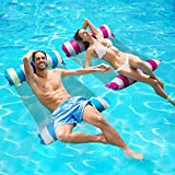 2 Packs Inflatable Pool Floats Toys Adult Size, 4-in-1 Multi-Purpose Inflatable Hammock with a Manual Air Pump,Pool Chairs to Beach, Swimming Pool,Water Hammock Lounge( Blue,Deep Pink)