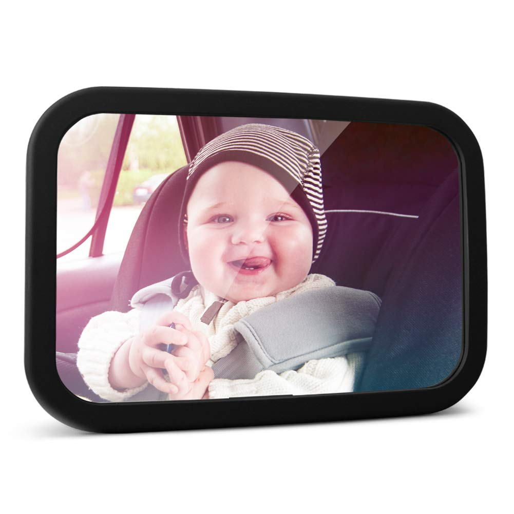 MYSBIKER Baby Backseat Mirror,360°Rotation and Shatterproof,Rear View Baby Kids Car Mirror with Dual Adjustable Straps,Clear View Ensure Your Baby is Safe in Car (Black)