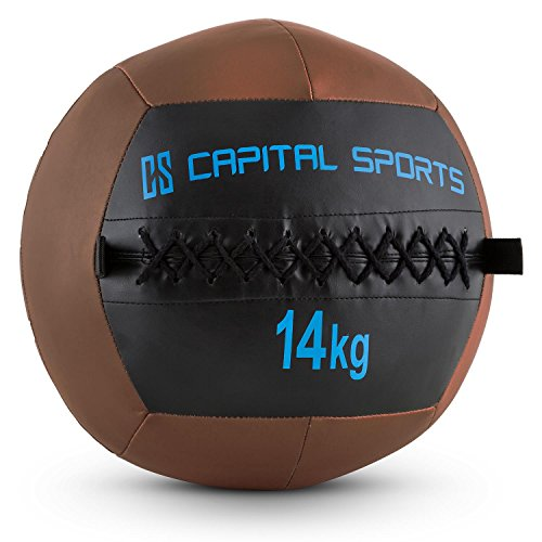 CapitalSports Wallba 14 Balón Medicinal de Cuero sintético (Peso 14 kg, Forro Exterior, Costuras resistententes, Superficie manejable, Esfera Ejercicios Gimnasia, Pelota Agarre Adecuado para Entrena