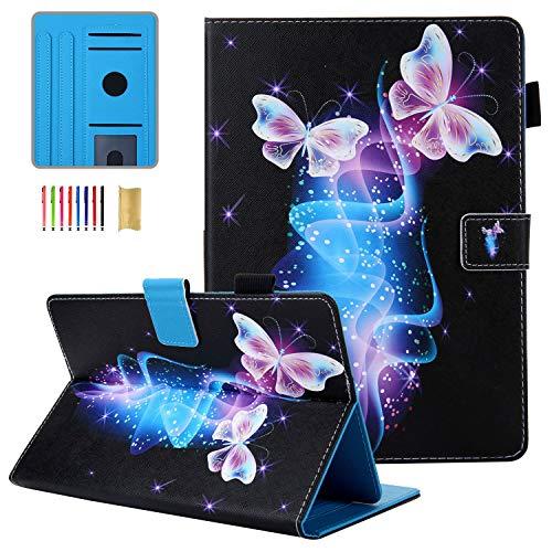 Coopts Funda universal para tablet de 10 pulgadas, impermeable, con soporte para lápiz para iPad Air/Amazon Fire HD 10/RCA Viking Pro 10.1/RCA 10 Viking II/Asus ZenPad y más, mariposa
