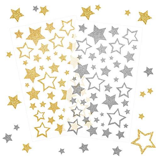 Kesote 252x Sticker Stern Aufkleber Glitzer Gold Etiketten Silber Selbstklebend zum Basteln für Weihnachten Deko Geschenk