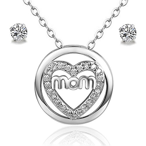 Gilind - Collana con ciondolo a forma di cuore, in argento Sterling 925 e zirconia cubica, con catenina da 45,7 cm, set da donna + confezione regalo