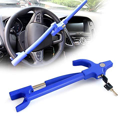 KAIRAY Auto Lenkradschloss Lenkradkralle Lenkradsperre Universalfahrzeug S-Grad Diebstahlsicherung, Anti-Bohren Anti-Verstellbare Längenklemme Doppelhaken 27,5-31,5cm, Blau 2 Schlüsseln