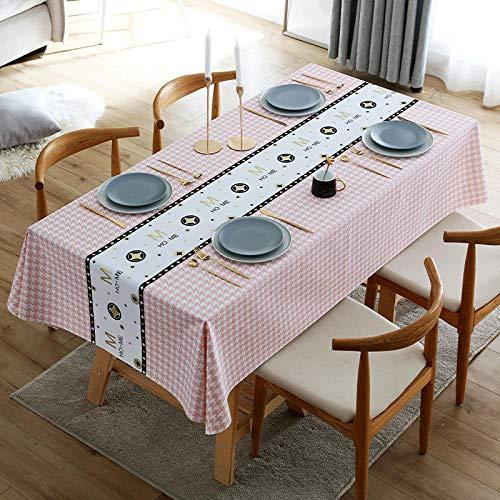 Kuingbhn Mantel Lavable Rectangular Resistente Al Agua PVC Anti Escaldado Fácil de Limpiar para Jardín Habitaciones decoración de Mesa Rosa 140 × 200cm