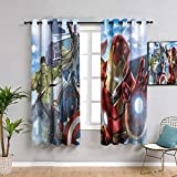 ZhiHdecor The Avengers Room Darkening Curtains avengers infinity war Vision Iron Man 52'x62'(132x 160cm) Treatments Thermal Insulated Light Blocking Drapes Back for Bedroom