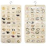 JiatuA Organizer Mostra Double Face 80 Tasche Non Tessuto Pieghevole Holder con Appendiabiti per Orecchini Collana Bracelet Rings Display Bag (Beige)