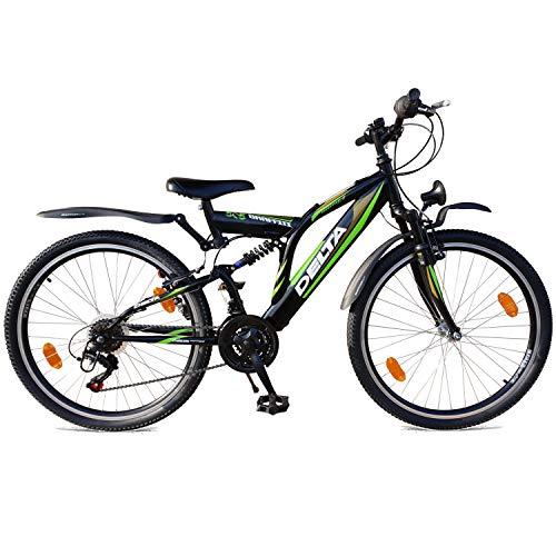 DELTA 26 Zoll Mountainbike 18 Gang Shimano Vollgefedert Fahrrad mit Beleuchtung StVZO