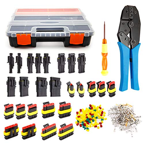 Superseal Starter Multi Reparatur Set Stecker Steckverbinder 1-6-pol Sortiment Leitung Ausstecher mit Crimpzange fuer FSH 0,35²/0,50² u. 1,50mm² AUTO KFZ LKW Ersatz