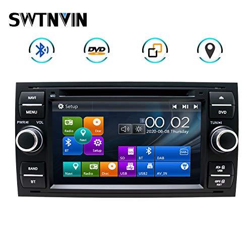 SWTNVIN Autoradio passend für Ford Focus Fusion Transit Fiesta Galaxy In dash 7 Zoll GPS Navigator Doppel DIN Haupteinheit, unterstützt USB SD FM AM RDS Video Bluetooth SWC DVD Player (schwarz06)