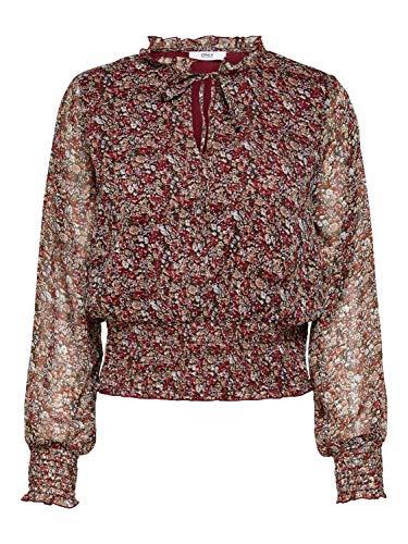 ONLY Damen Bluse OnlMerle Top Oberteil Rüschen Shirt Blumen-Muster, Farbe:Mehrfarbig, Größe:S